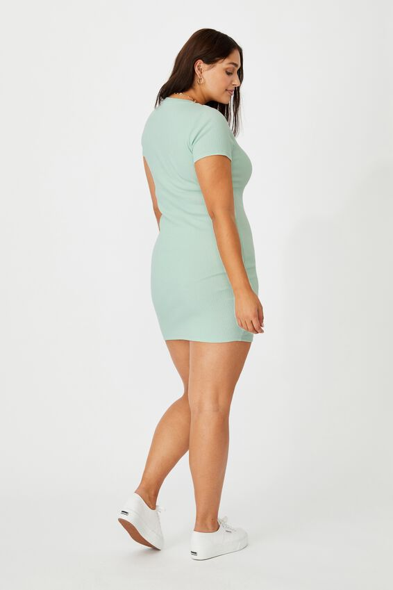 Lucia Rib Tee Mini Dress, MINTY GREEN