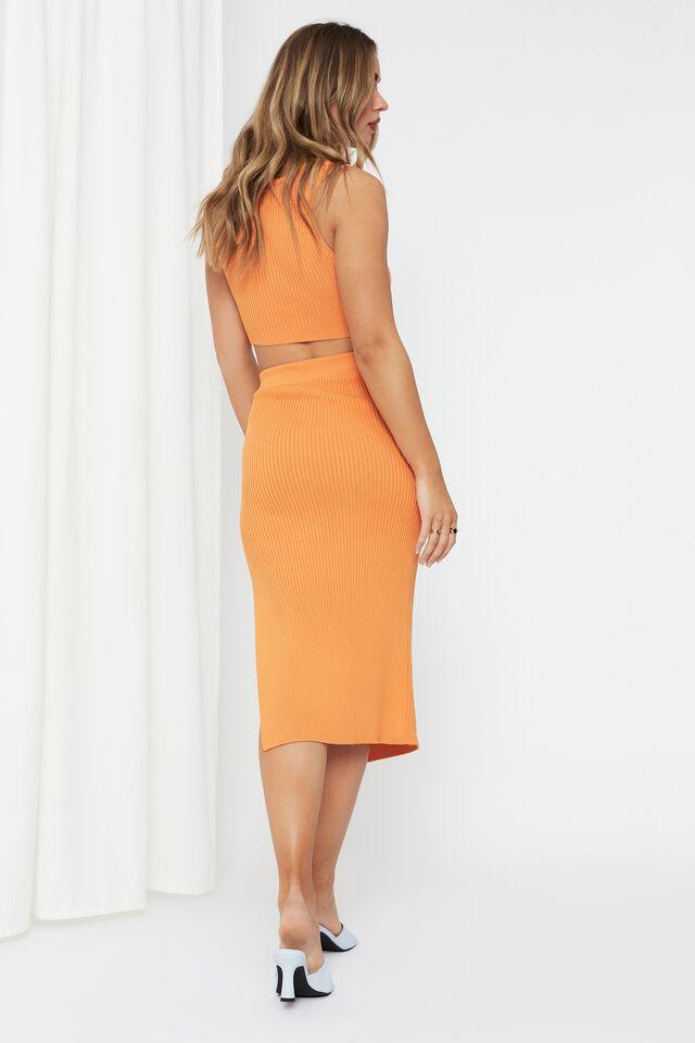 Leigh Midi Split Skirt, TANGERINE