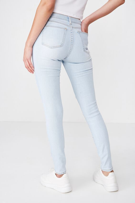 Long Leg Skinny Premium High Rise Ripped Jean, POWDER BLUE