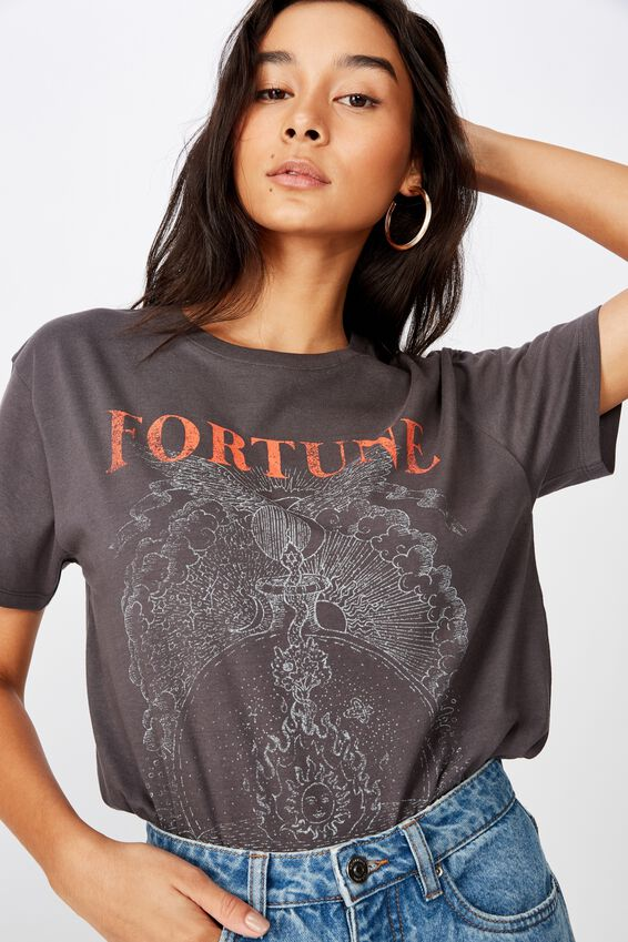 Lola Printed Longline T Shirt, GRANITE GREY FORTUNE