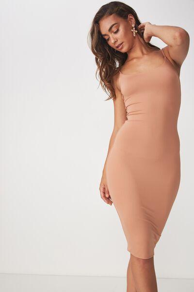 Party Thin Strap Midi Dress, MACAROON