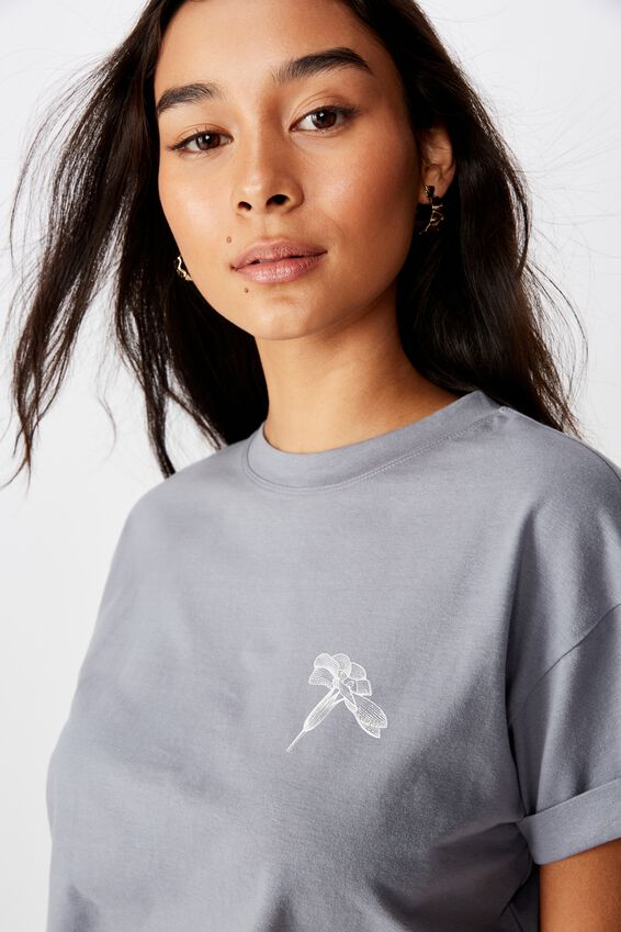 Tamara Graphic Crop Tee, BLUE GREY NO RAIN