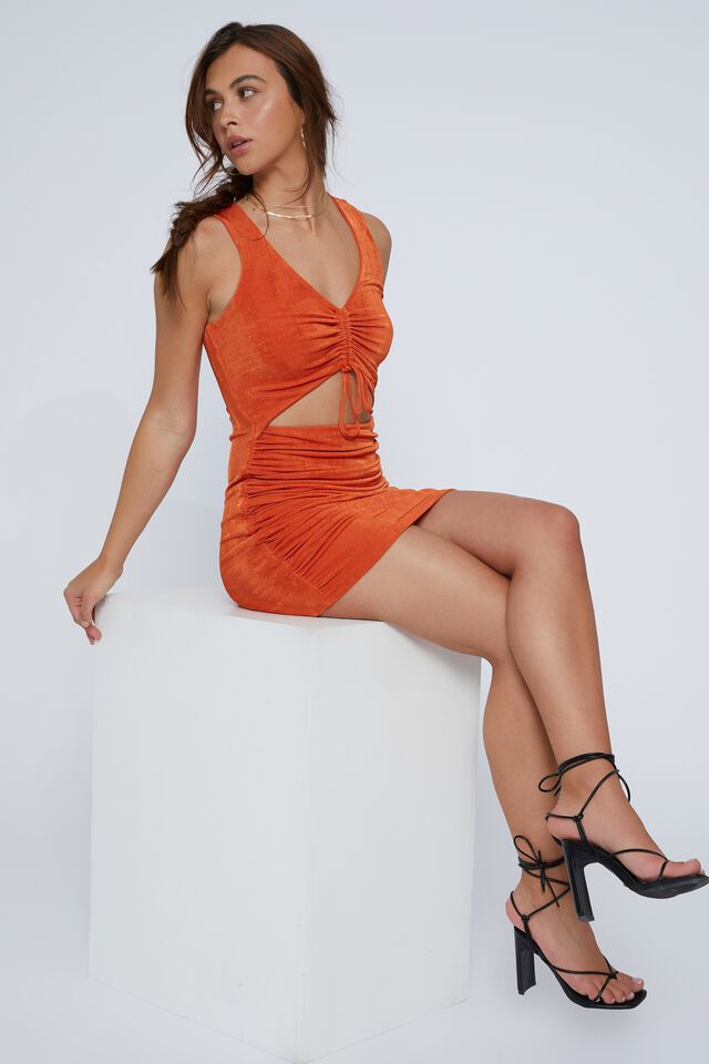 Ellie Ruched Front Mini Dress, DEEP ORANGE