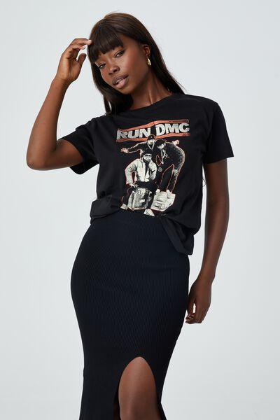 Kylie Printed T Shirt, BLACK/LCN BRA RUN DMC QUEENS