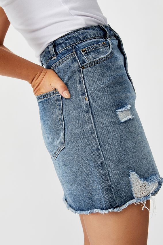 The Blair Aline Denim Skirt, MID BLUE DISTRESSED