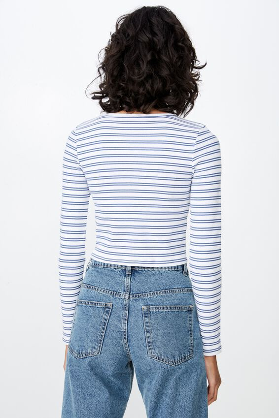 Long Sleeve Rib Crew Neck Crop Top, KRIS STRIPE (WHT/JEAN BLUE)