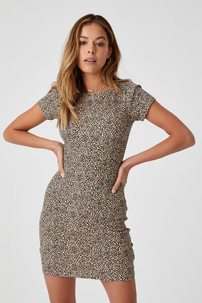 Lucia Rib Tee Mini Dress, ISLA LEOPARD BISCUIT BLACK