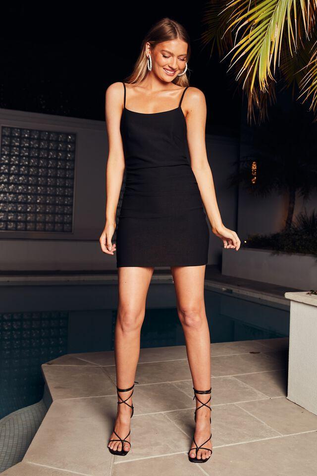 Lily Strappy Mini Dress, BLACK