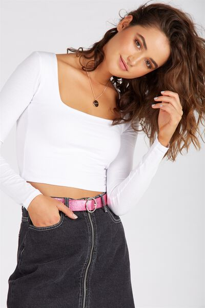 Basic Square Neck Crop Top, WHITE