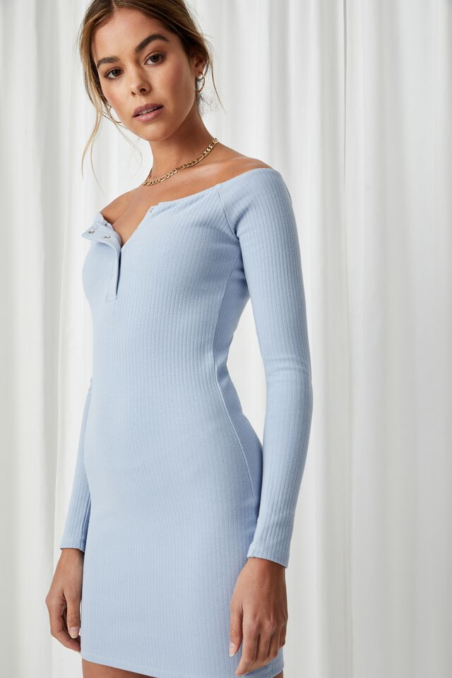 Pia Buttoned Mini Dress, HAZY BLUE