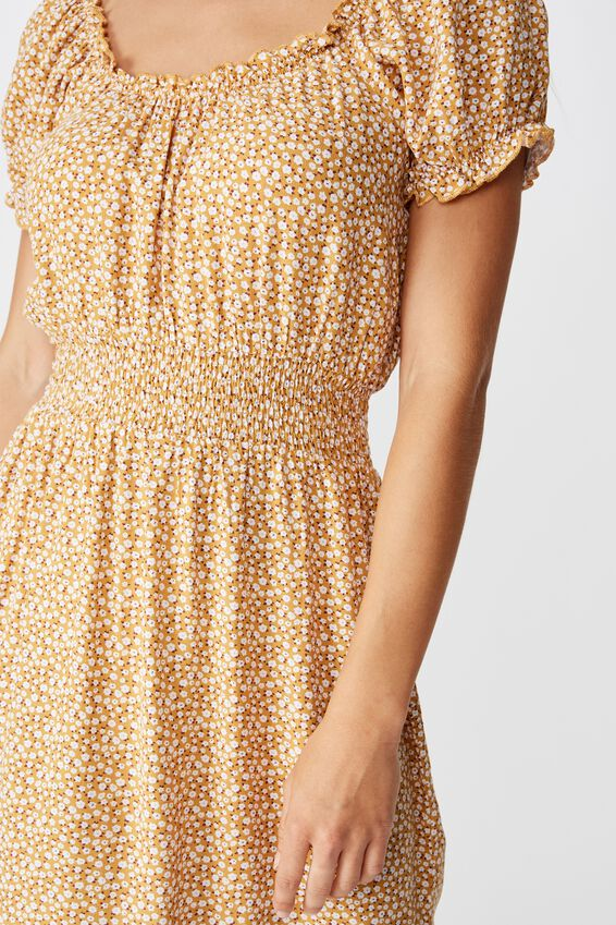 Shelby Dress, PEONIES DITSY MUSTARD