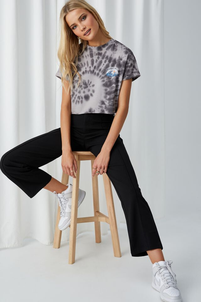 Tamara Printed Crop T Shirt, TIE DYE (PRL GRY/JT GRY)/LAGUNA SURF