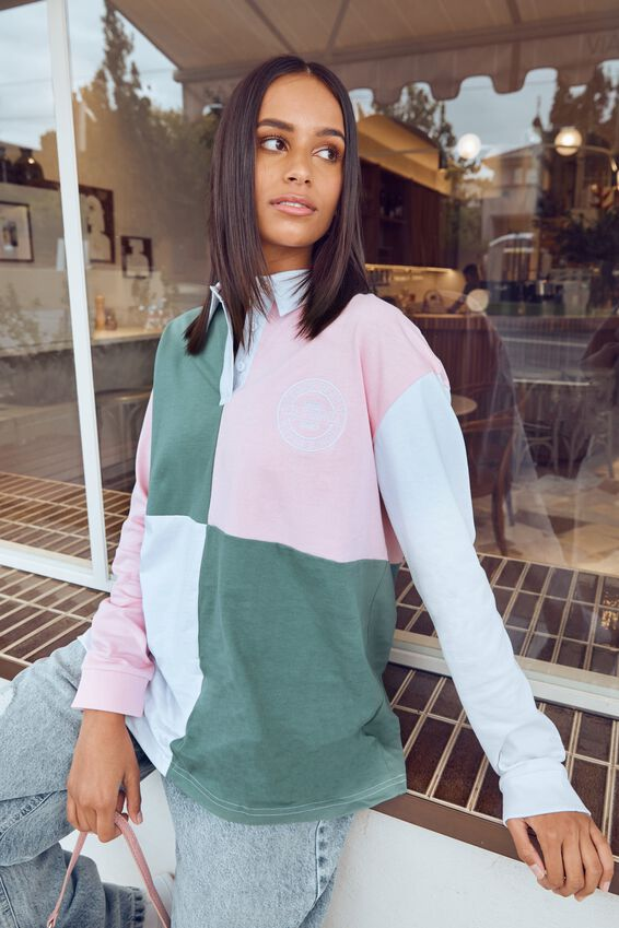 Talullah Polo Jumper, PARTY PINK/LILLYPAD GREEN/WHITE (CALI)