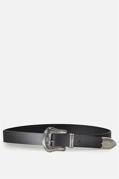 Super Size Western Belt, BLACK/ SILVER