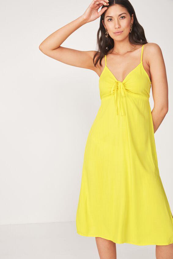Strappy Gathered Bust Midi Dress, YELLOW