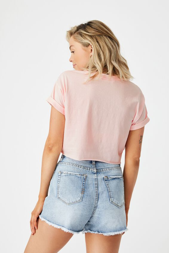 Tamara Printed Crop T Shirt, FAIRYTALE PINK/VENICE BEACH