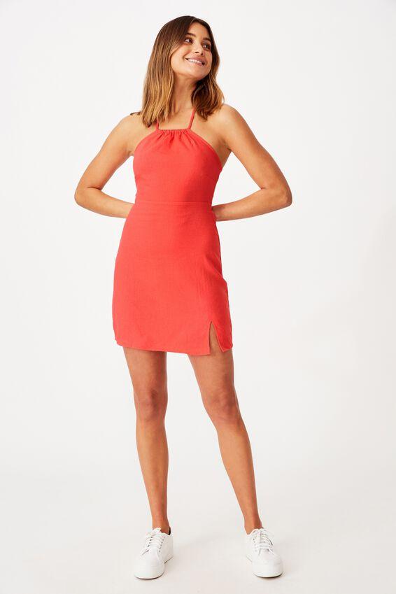 Lana Halter Neck Slip Dress, HIBISCUS RED