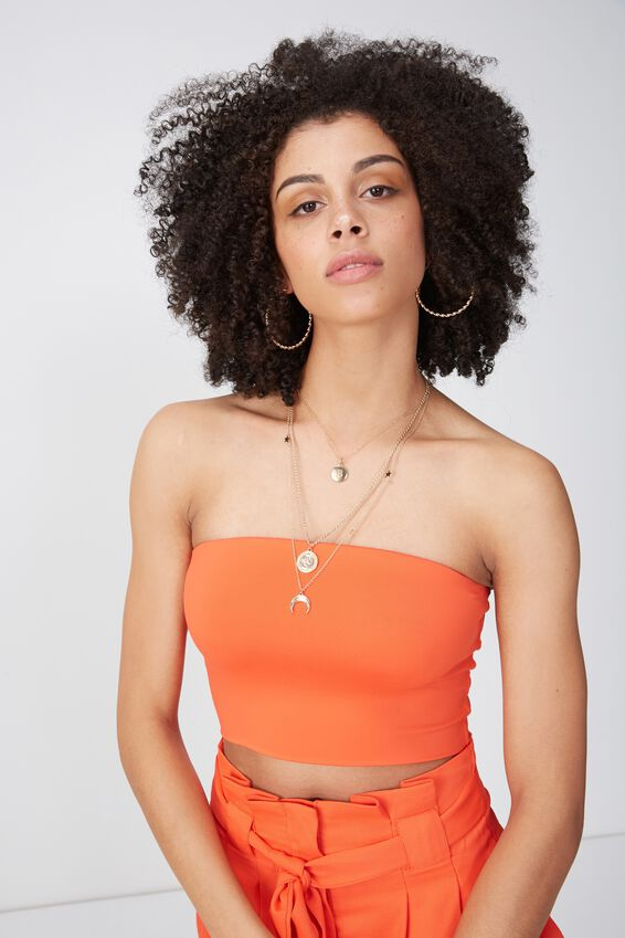 Party Strapless Crop Top, TANGERINE