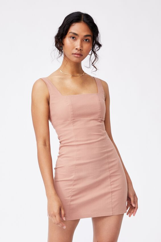 Capri Fitted Square Neck Mini Dress, BLUSH BRONZE