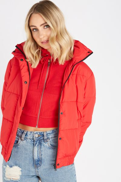 Oversized Puffer Jacket, RED