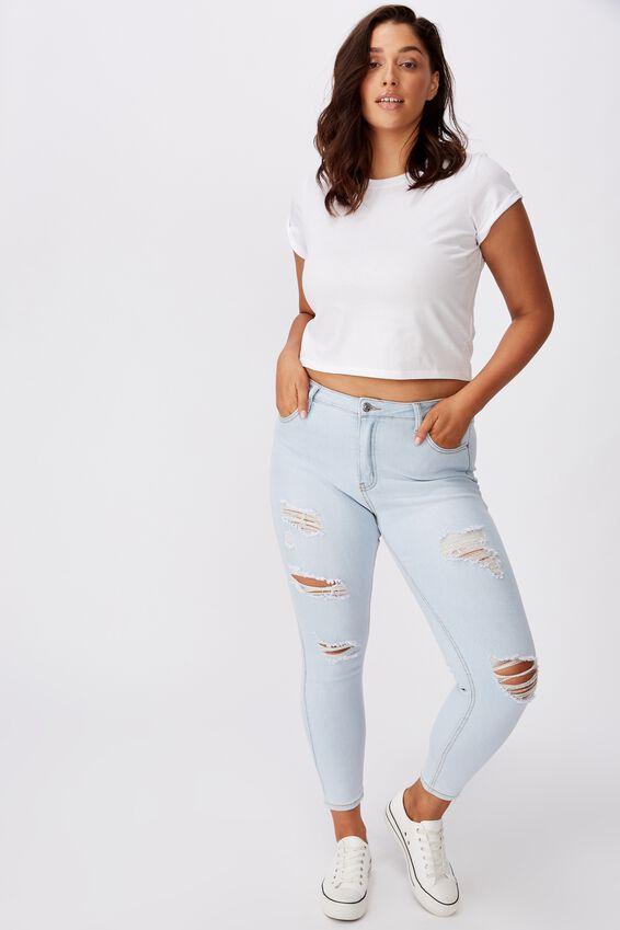 Skinny Premium High Rise Ripped Jean, POWDER BLUE