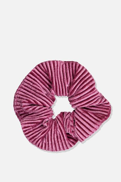 Pleated Plush Scrunchie, GRAPE