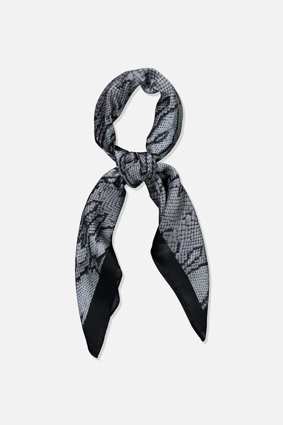 Satin Scarf, GREY SNAKE