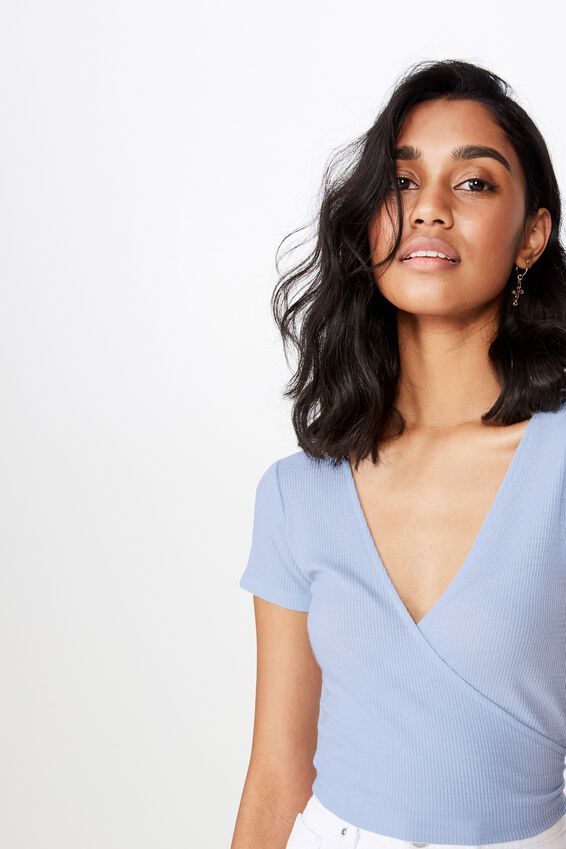 Kelly S/S Wrap Top, ICE BLUE
