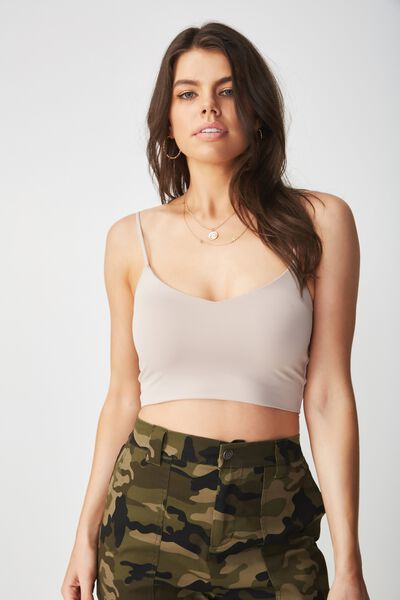 Party Crop Cami Top, NATURAL