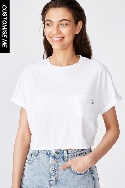 Customised Ciara Crop Tee, WHITE