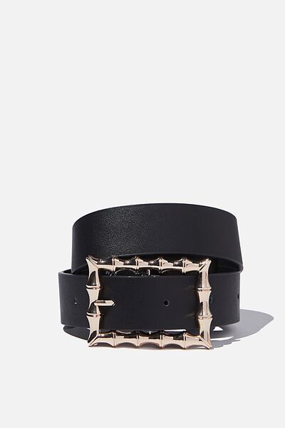 Textured Large Square Belt, BLACK GOLD