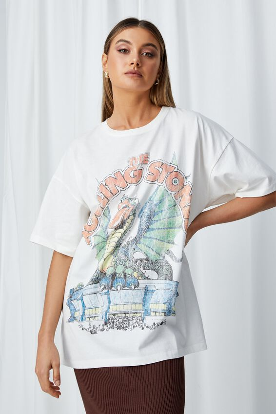 Oversized Rolling Stones Dragon T Shirt, WINTER WHITE/LCN BRA RS DRAGON