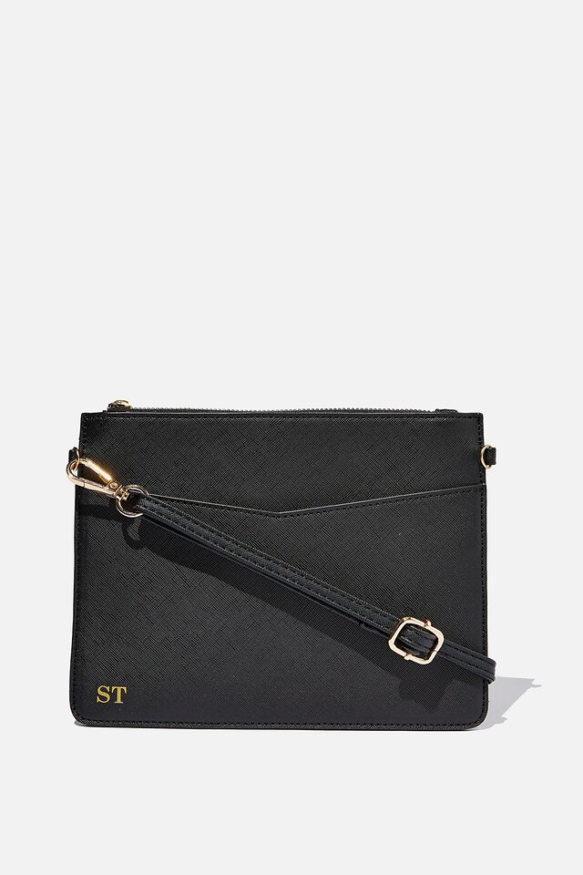 Nia Envelope Clutch, BLACK TEXTURE