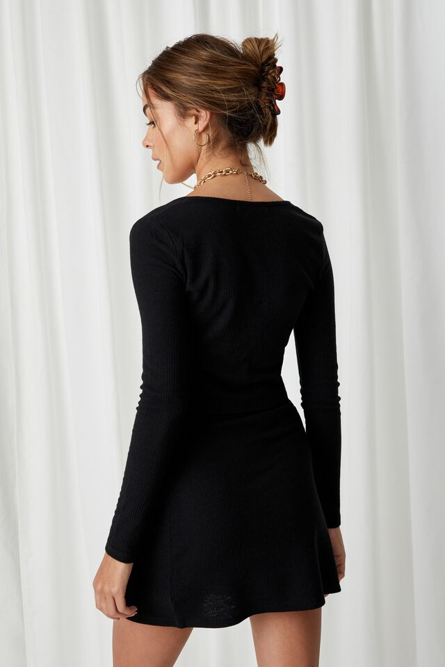 April Tie Front Top Co Ord, BLACK