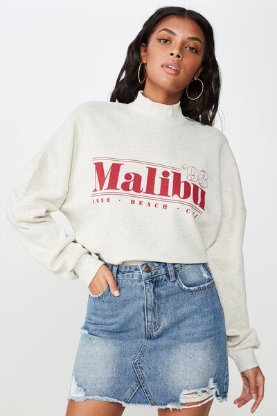 Hadley Long Sleeve Sweat, CREAM MARLE/MALIBU