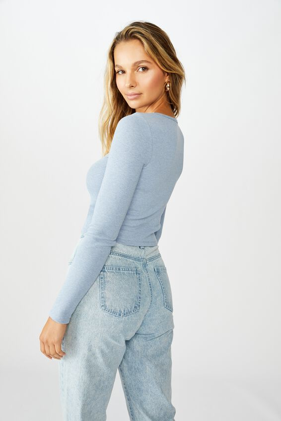 Ash Long Sleeve Rib Top, BLUE RIDER MARLE