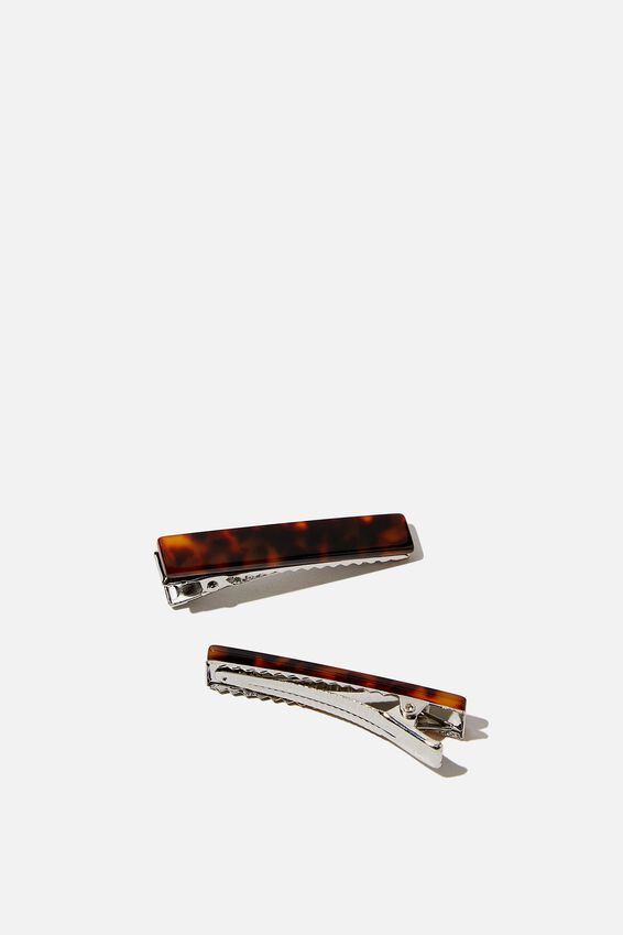 Hair Clips 2 X Pack, DARK TORT