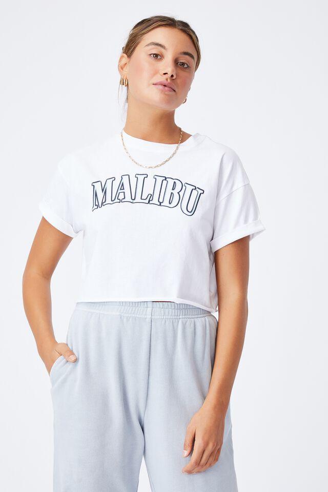 Tamara Printed Crop T Shirt, WHITE/MALIBU