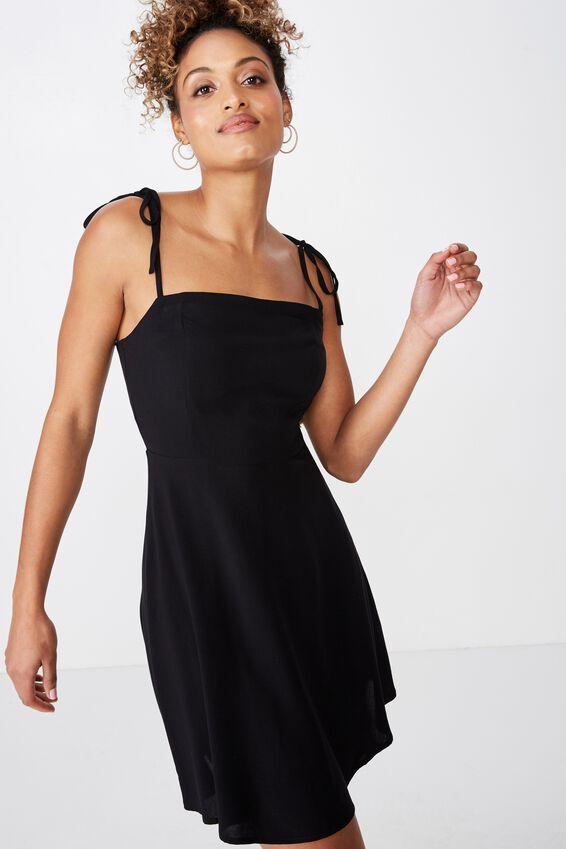Rylie Tie Shoulder Skater Dress, BLACK