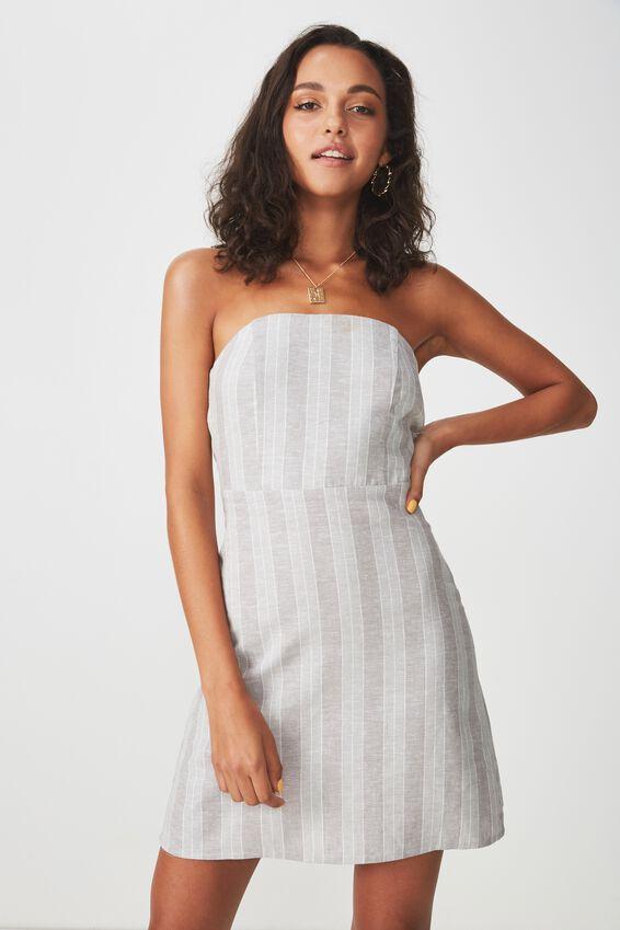 Strapless Mini Dress, KHAKI STRIPE
