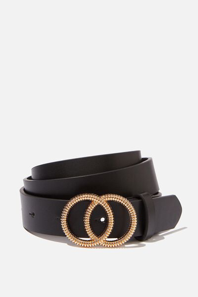 Ridged Texture Double Hoop Belt, BLACK/GOLD