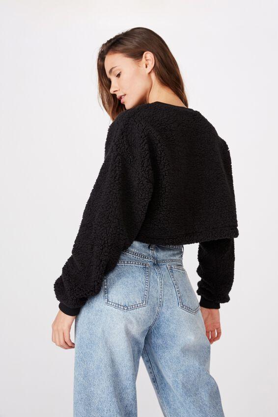 Isabella Crop Polar Fleece, BLACK