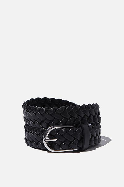 Mini Plait Belt, BLACK SILVER