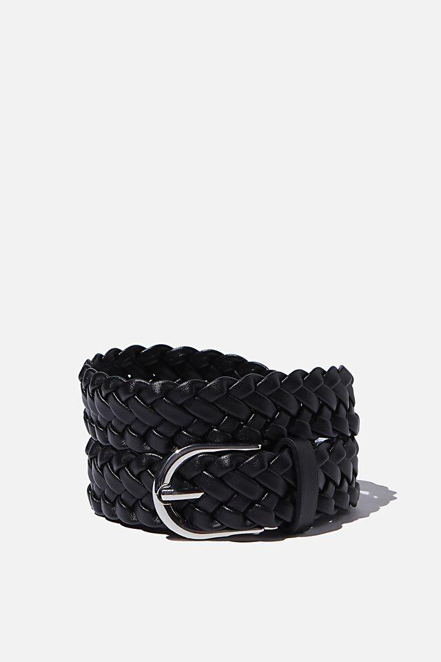 Mini Plait Belt, BLACK SILVER