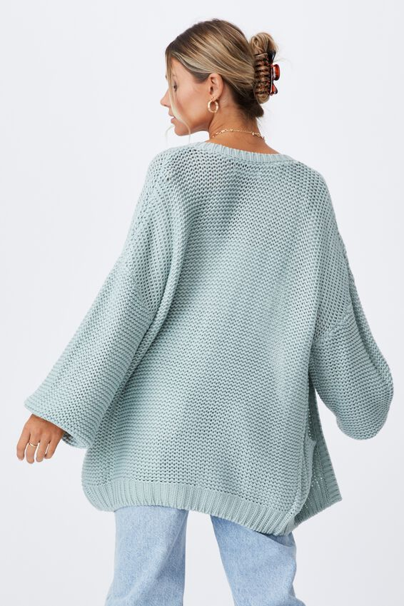 Georgie Oversized Cardigan, MATCHA GREEN