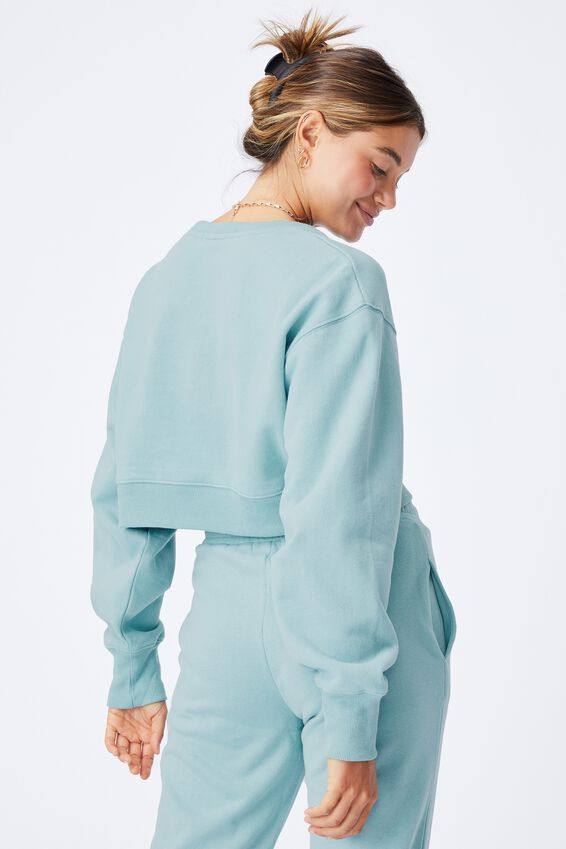 Louisa Cropped Jumper, CHALKY TEAL