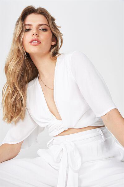 Tie Wrap Top, WHITE