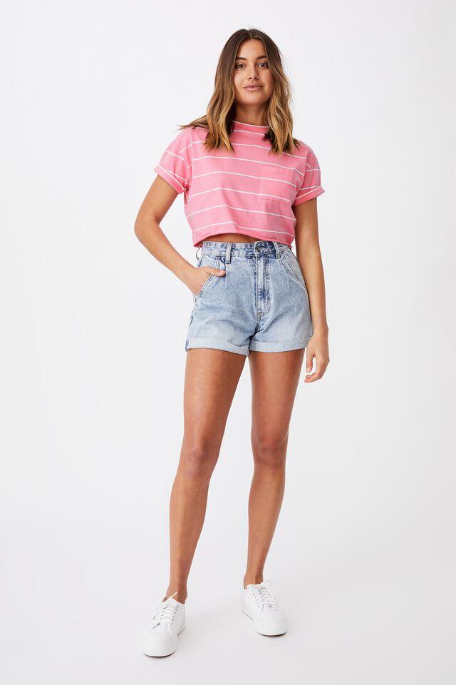 Ciara Crop T Shirt, ROZA STRIPE PNCH PNK/WHT
