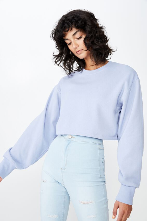 Kayla Long Sleeve Crop Sweat, PERIWINKLE