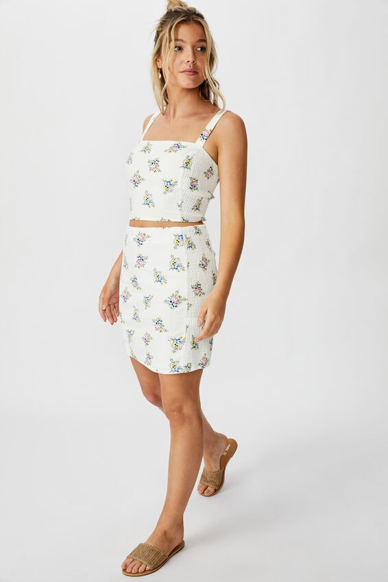 Naomi Shirred Side Skirt, WHITE BOUQUET FLORAL